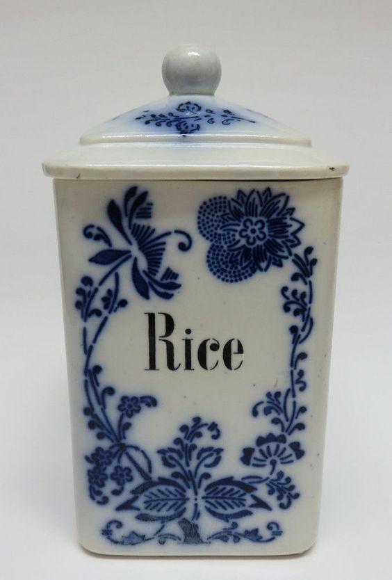 Antique German Flow Blue Onion Porcelain Kitchen Rice