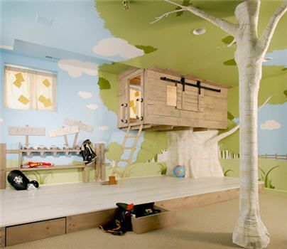 #PinIt2WinIt  Pinned, not because I will put a tree house inside, but because I may very well put a playhouse and setup inside! I promote active kids and thinking outside the box! I like the tree inside, may have to make that happen.: