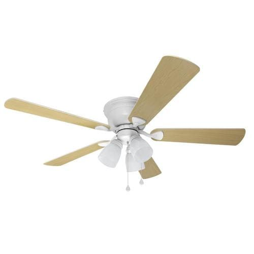 Harbor Breeze Centreville 42 In White Led Indoor Flush Mount Ceiling Fan 5 Blade Lowes Com In 2020 Flush Mount Ceiling Fan Ceiling Fan With Light Ceiling Fan