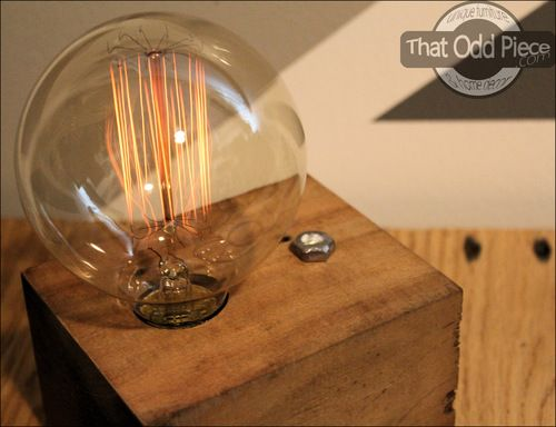 Wood Block Lamp With 3 Way Dimmer Touch Switch And Edison Globe