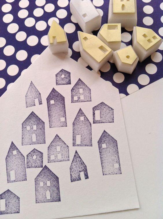 casa conjunto de sello de goma. talladas a mano de la aldea de invierno sello de…
