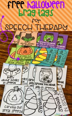 Free Halloween Brag Tags for using in my speech therapy room