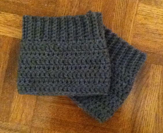 Grey bootcuffs I crocheted