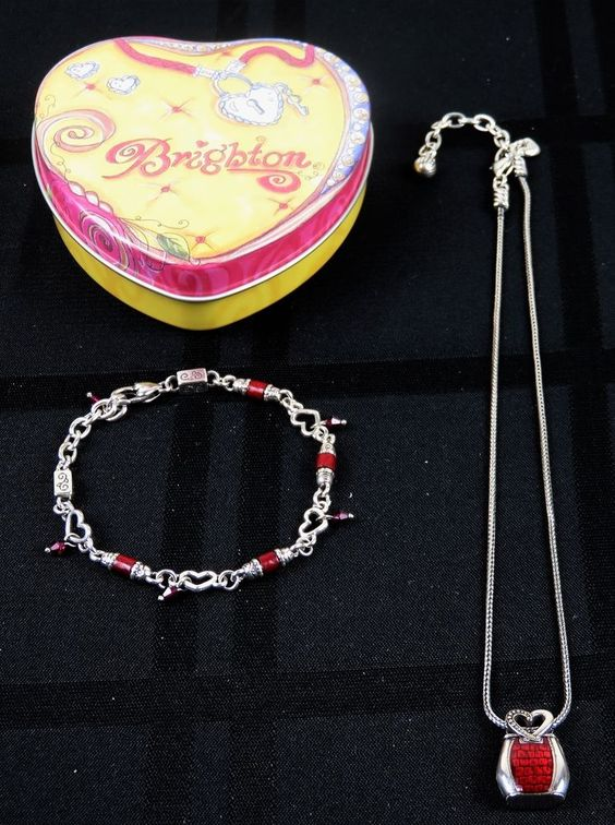 BRIGHTON JEWELRY SET OPEN HEART BRACELET RED CRYSTALS BEADS NECKLACE PURSE & BOX #Brighton