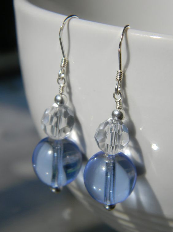 Blue sky earrings: http://www.etsy.com/listing/78722609/sterling-silver-blue-sky-glass-earrings
