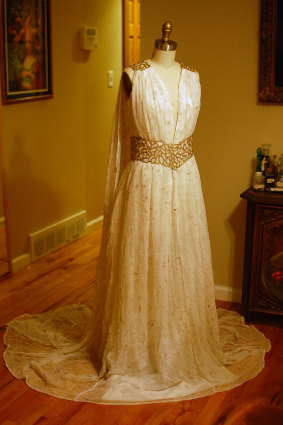 Daenerys Qarth Ivory and Gold Gown Bridal Dress Geek Costume Game of Thrones Wedding Prom: