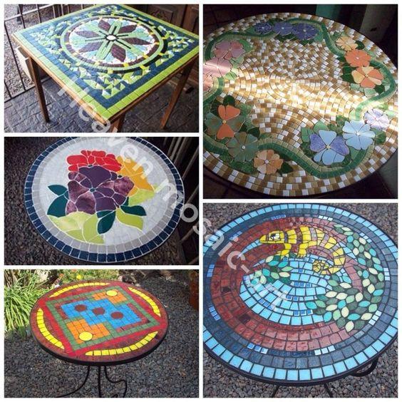 Distintos modelos y tama os de mesa trabajadas con - Mesas con azulejos ...