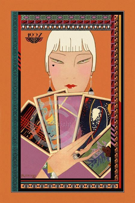 Art Deco Poker Playing Flapper Print, holding Deco Playing Cards, Bridge Game, Deco Jewelry, deco boarders, Giclee art print, 12x18, 1920s