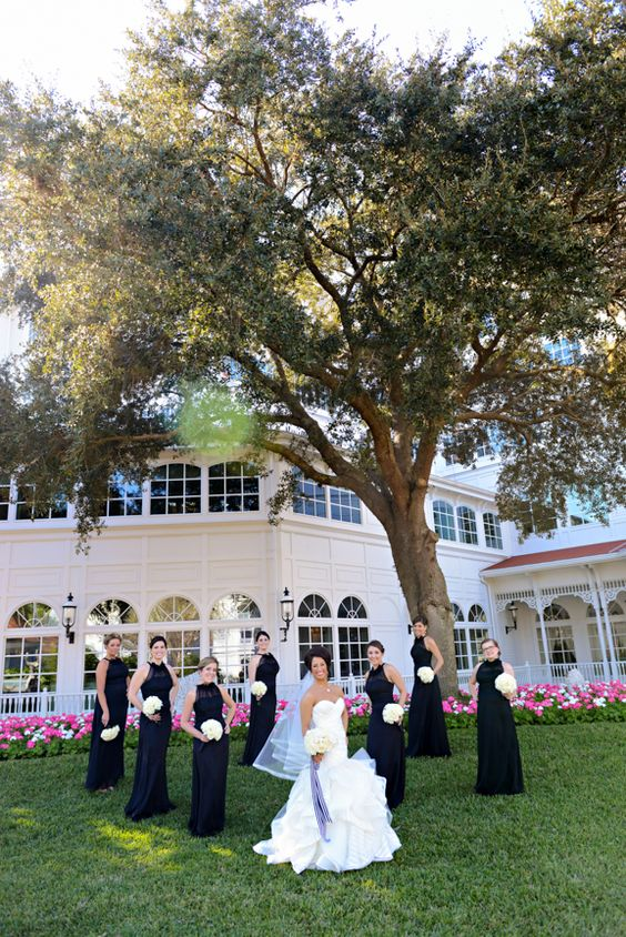 These bridesmaids looked chic and stylish in their black dresses at Disney's Grand Floridian Resort & Spa