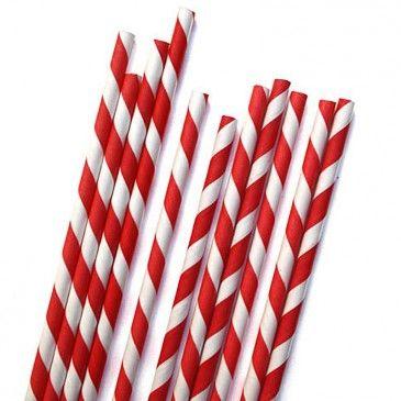 Red stripe retro paper straws