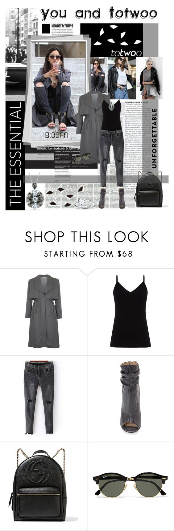 """""""You and Totwoo"""" by lacas ❤ liked on Polyvore featuring French Connection, Diane Von Furstenberg, Kristin Cavallari, Gucci, Ray-Ban, WearableTech, totwoo and smartjewelry"""