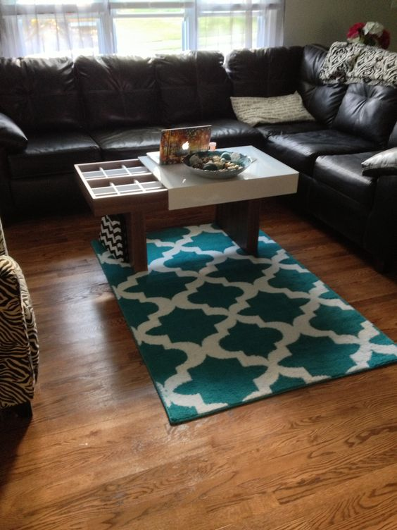 Teal Black White And Silver Themed Living Room Home