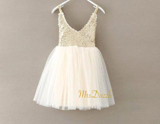 Gold Pailletten Blumenmädchen Kleid Gold von MrsDazzle auf Etsy