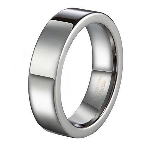 6mm Titanium Wedding Band Thumb Ring Plain Flat Comfort Fit Brushed Center