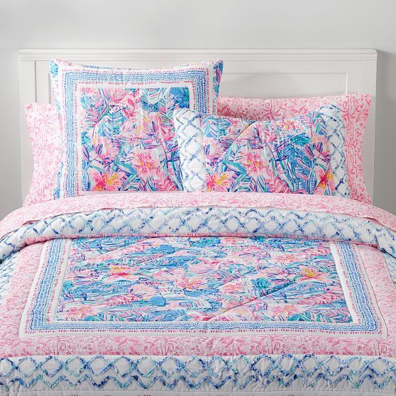 Lilly Pulitzer Slathouse Soiree Patchwork Quilt Sham Lilly