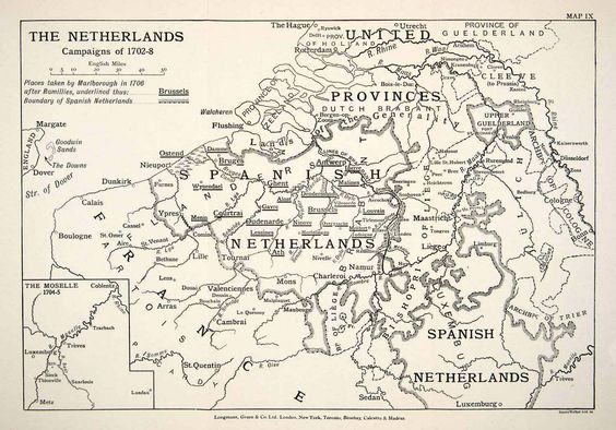 1948 Print Map Netherlands Military Campaign War Spanish Succession XEM5 | eBay