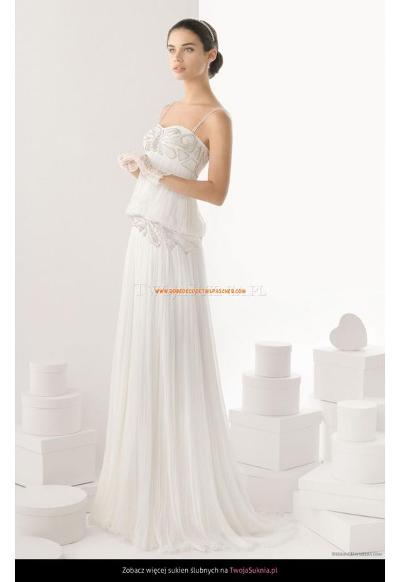 Robe de Mariée longue en mousseline avec bretelles 2014