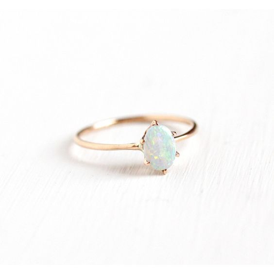 Antique 10k Rose Gold Dainty Opal Ring Size 4 1/4 Vintage Edwardian... ($210) ❤ liked on Polyvore featuring jewelry, rings, vintage rose gold ring, gemstone rings, vintage opal jewelry, solitaire ring and oval opal ring