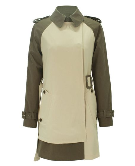 Color-block Belted Long Sleeves Trench Coat