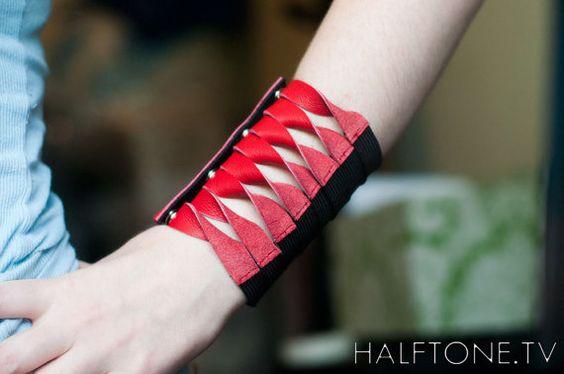 Red Leather Twisted Wrist Wallet - Wristband Cuff Wallet Bracelet Pocket for Women or Men