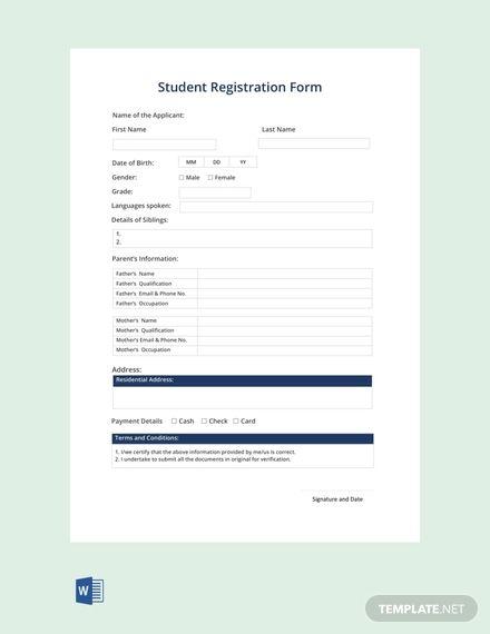 Free Student Registration Form Registration Form