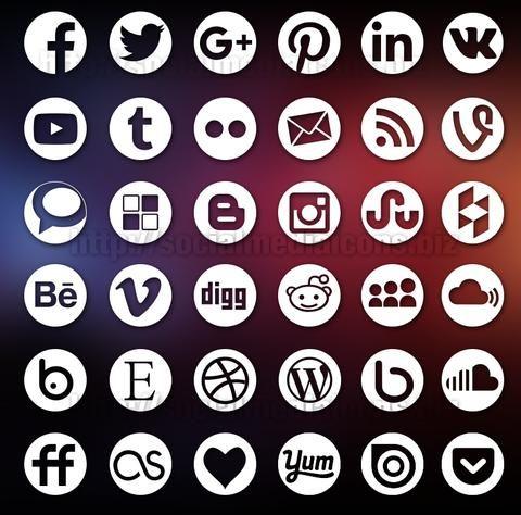 Round Social Media Icons White Socialmediaicons Social Media Icons Social Media Icons Vector Icon