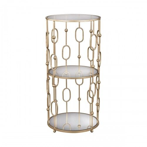 3 Tier Soft Gold Glass Accent Side Table Gold Accent Table End Tables Mirrored End Table