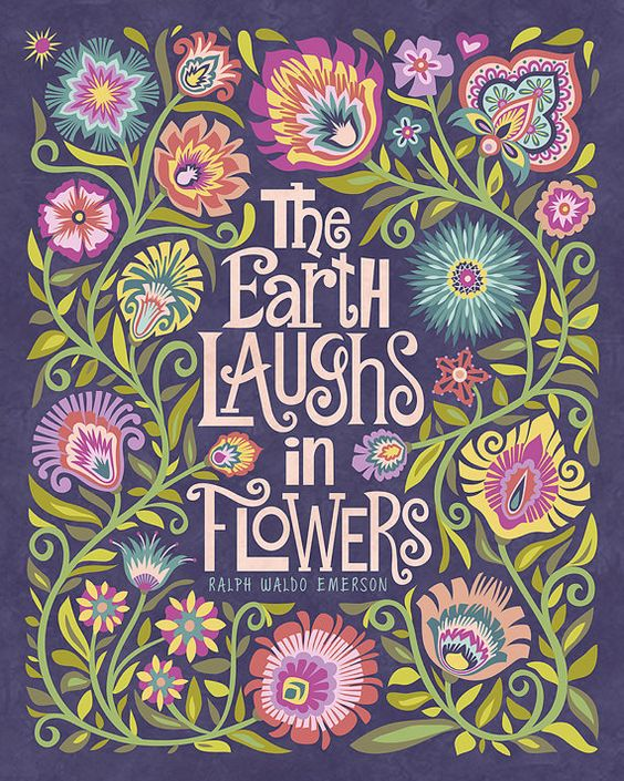 Wycinanki Floral Botanical Folk Art Print Quote The Earth Laughs in Flowers Polish  Papercut Style G