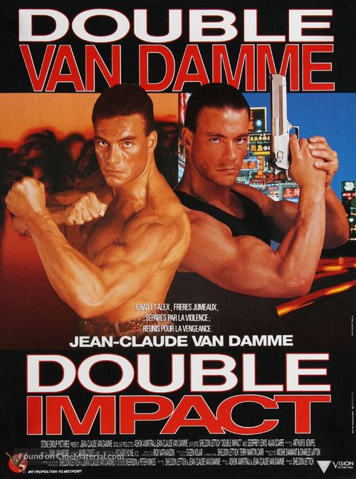 Double Impact French Movie Poster Double Impact Van Damme Jean Claude Van Damme