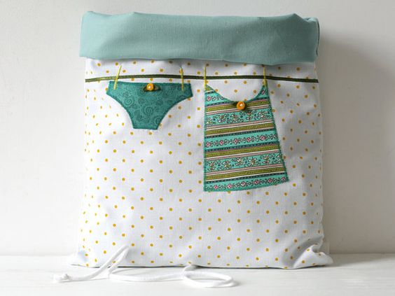 Multipurpose storage bag, cotton fabric manufactured with embroidery application…