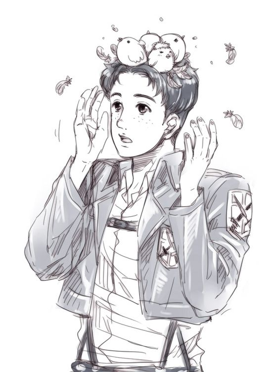 marco with chicks in his hair  #marco #chick jean Attack on titan