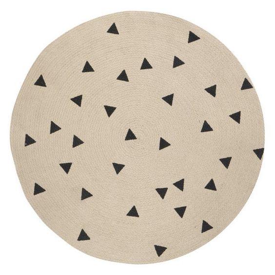 Ferm Living - Tapis Rond Triangle Noir 100% Jute
