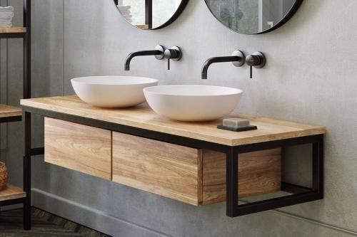 Waschtischunterschrank Loft Float Teak Metall Waschtischunterschrank Loft 140 Cmwaschtischunter Waschtischunterschrank Unterschrank Bad Waschtisch Holz