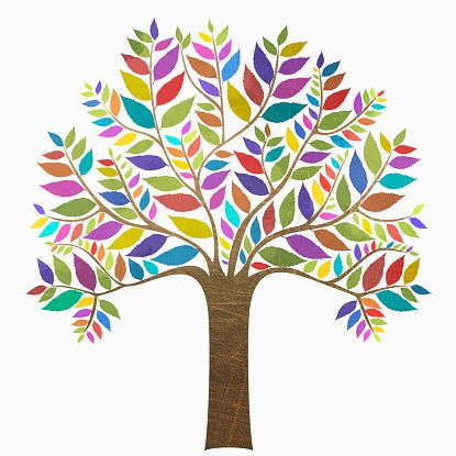ストックイラストレーション : Multi colored tree against white background