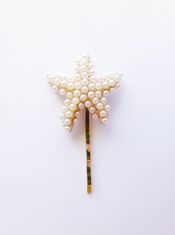 Pearl Starfish Hair Pin Starfish Bobby Pin by dreamsbythesea, $30.00