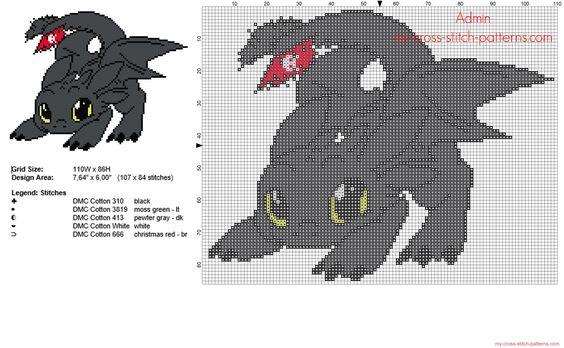 El dragón Furia Nocturna de Cómo entrenar a tu dragón patron punto de cruz