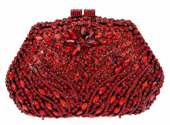 Luxury full Siam Crystal Metal Base flower Evening Bag Wedding Clutches Women Party Handbag Gift Box Packing FREE SHIPMENT