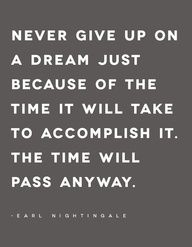 Dont give up a goal due to the time it will take to accomplish it. The time will pass anyway: