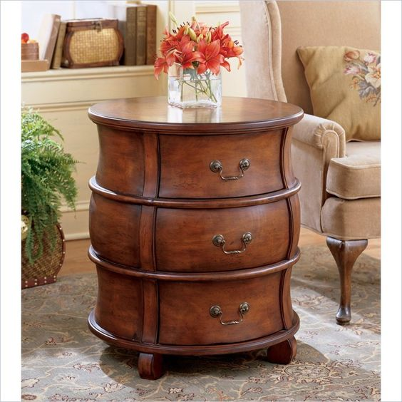 Butler Specialty Plantation Cherry Round Wood Barrel End Table Cherries British Colonial