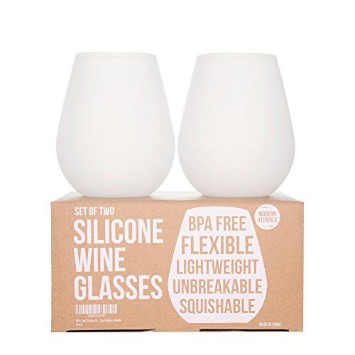 Modern Utensils Silicone Wine Glasses: 14Oz, Set Of 2 - These Unbreakable Glasses Would Be Great For Wedding Gift. No More Worries About Broken Glass!, 2015 Amazon Top Rated Wine Glasses #Kitchen