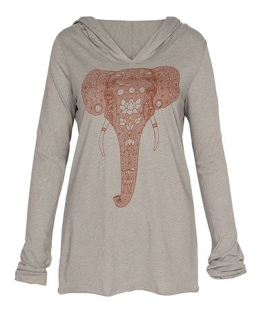 Look what I found on #zulily! Heather Gray Painted Elephant Organic Yoga Hoodie #zulilyfinds