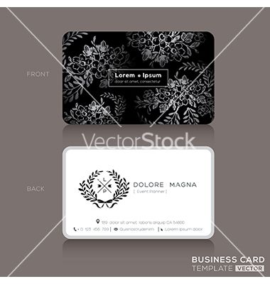 Floral vintage elegant business cards design vector - by kraphix on VectorStock®