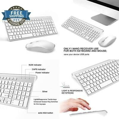 Wireless Keyboard and Mouse Combo,J JOYACCESS 2.4G Slim wireless keyboard mouse