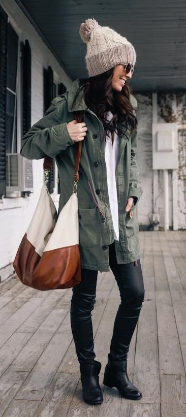 #winter #fashion / military green jacket + beanie:
