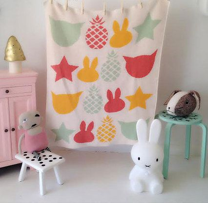 Eco Bunny Baby Blanket, Pastels - Spearmint LOVE