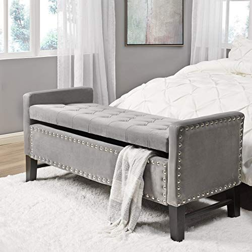 New Columbus Grey Velvet Storage Bench Tufted Nailhead Upholstered Inspired Home Online Findandbuytopstyle In 2020 Bed Bench Storage Tufted Storage Bench Bench With Storage