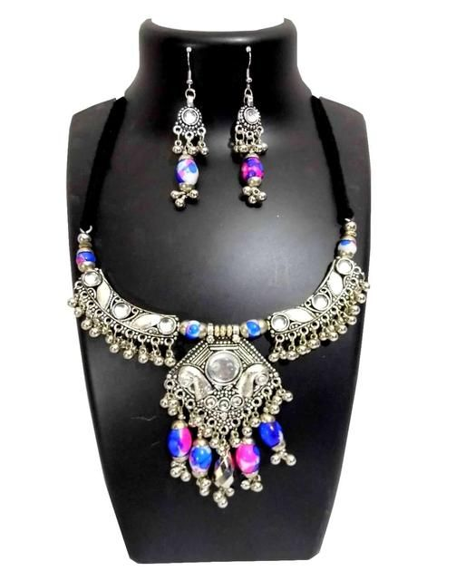 Oxidized Metal Navratri Jewellery Set- White&Blue Beads Pendant 1