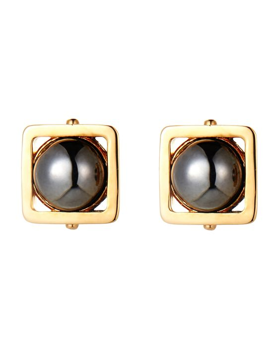 Lele Sadoughi Gold-Plated Square Caged Earrings