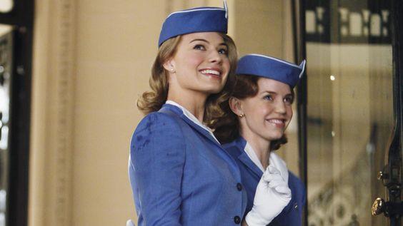 Flight Attendants & sisters Laura Cameron (actress Margot Robbie) and Kate Cameron (actress Kelli Garner)