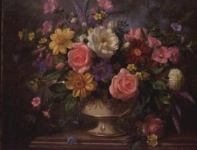 AB/49 Mixed Arrangement with Dahlias Wall Art & Canvas Prints by Albert Williams